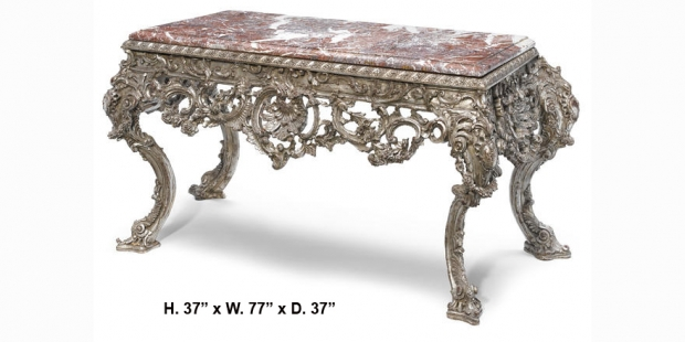 Impressive Large French Regence style carved silvered wood console