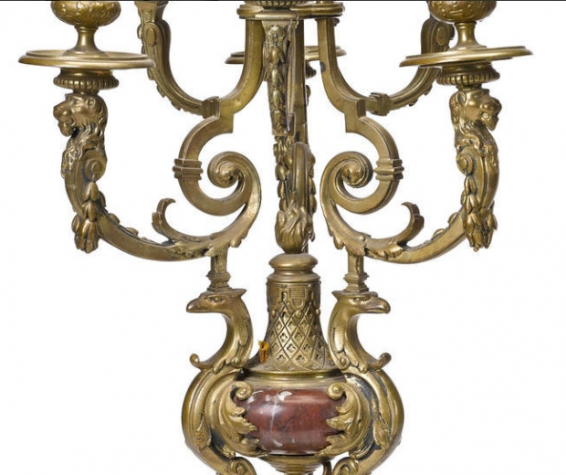 Pair 19c French Louis XV style gilt bronze and rouge marble 6L candelabra (1)