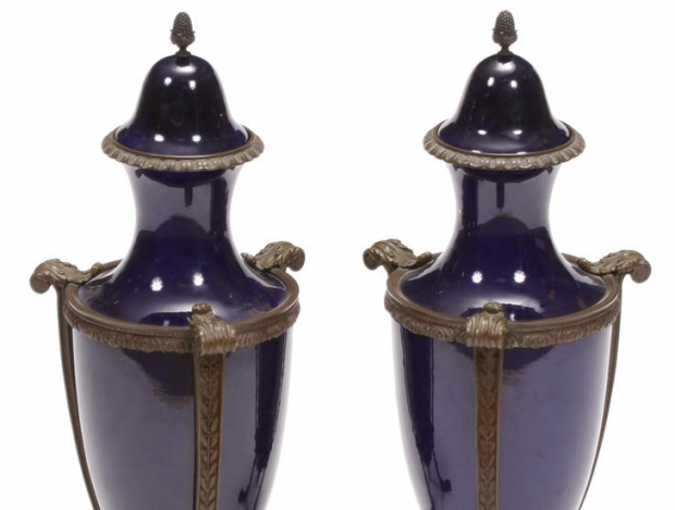 Pair 19c French Neoclassical style bronze mounted cobalt blue porcelain urns (1)
