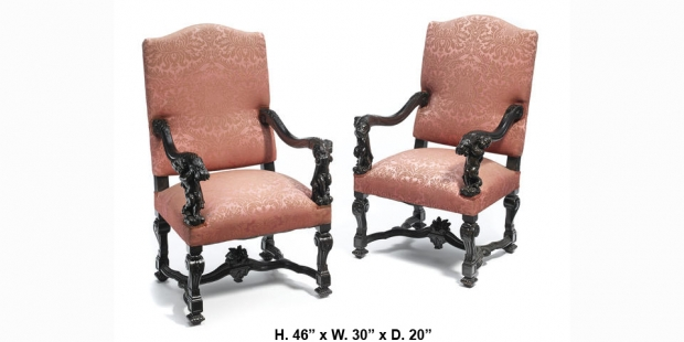 Pair 19c Italian Baroque style carved figural armchairs