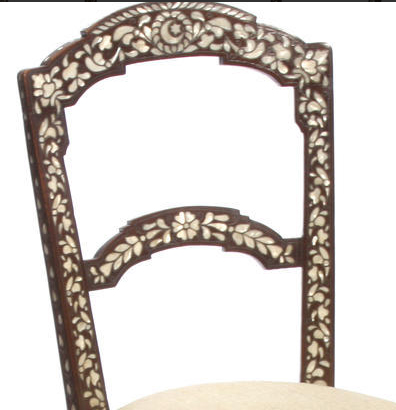 Pair 19c Levantine shell and silvered metal inlaid side chairs (1)