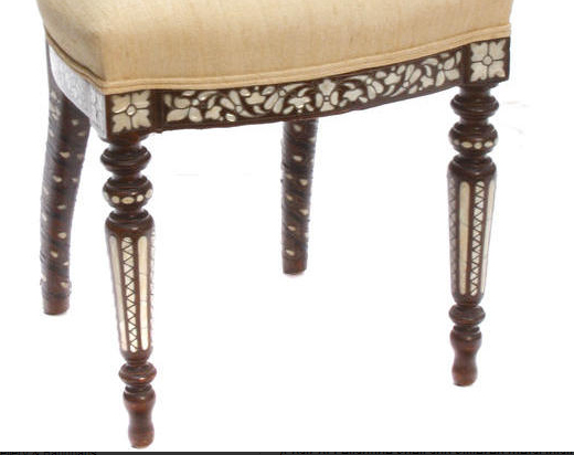 Pair 19c Levantine shell and silvered metal inlaid side chairs (2)
