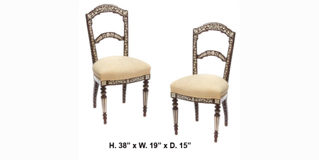 Pair 19c Levantine shell and silvered metal inlaid side chairs