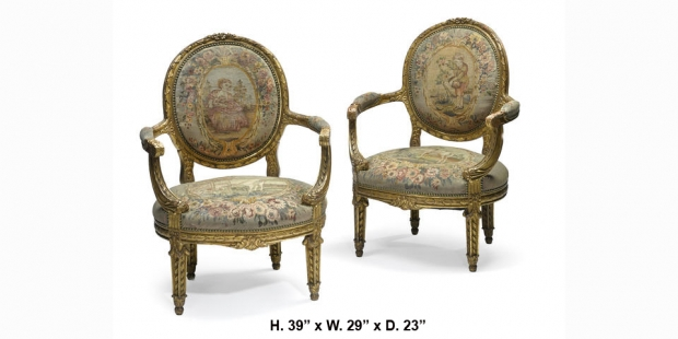 Pair 19 Century Louis XVI Style Giltwood and Tapestry Upholstered ...