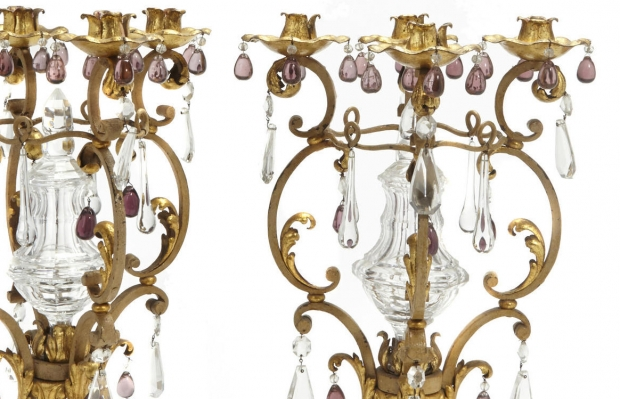 Pair Italian Baroque Style gilt bronze 4L candelabra with crystal spike (1)