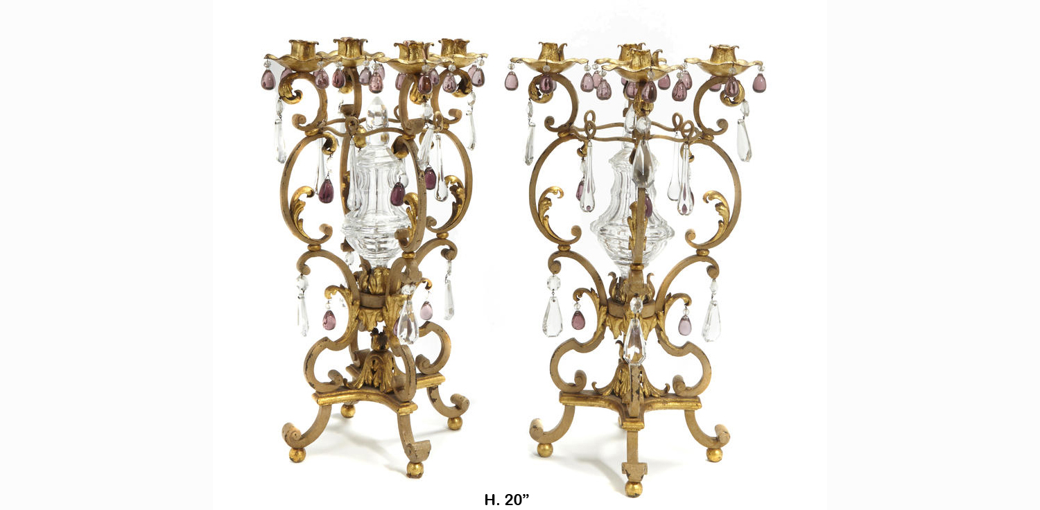 Pair italian baroque style gilt bronze 4 light candelabra for Baroque style home accessories