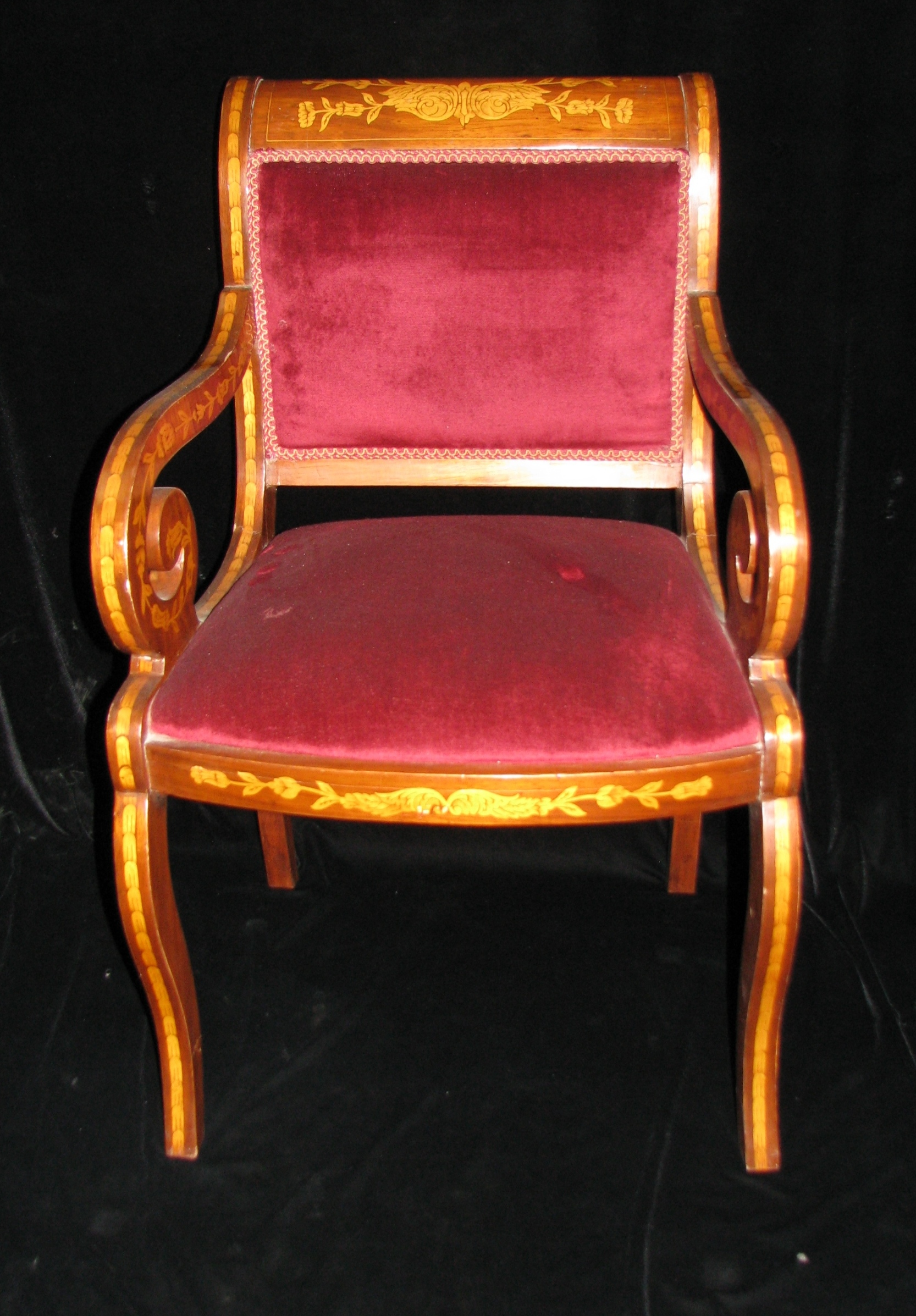 Dch 05 set of 8 dutch marquetry style red upholstered - Red upholstered dining chairs ...