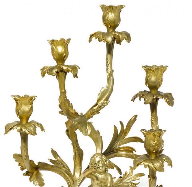 Unusual 19c Pair Louis XV Style ormolu 5L figural candelabra (4)