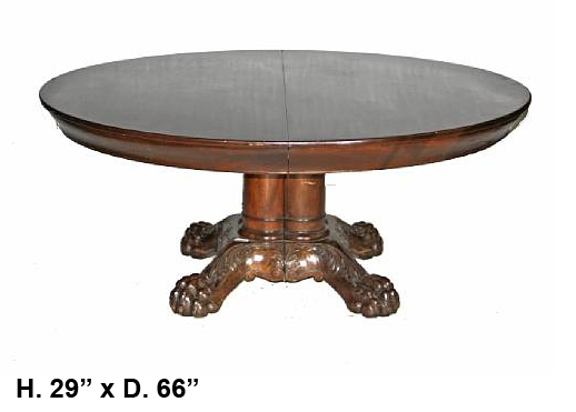 19c. American Baroque Style carved mahogany dining table with 5 leaves (2)