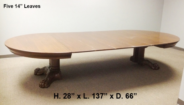 19c. American Baroque Style carved mahogany dining table with 5 leaves