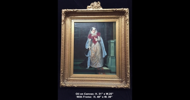 Copy of Extremely fine 19c. French School oil on canvas of standing lady next to pedestal with unusual frame with lions