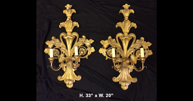 Copy of Pr. Italian Baroque Style carved giltwood sconces c.1900
