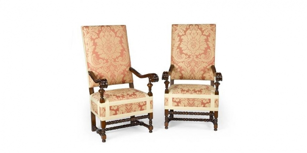 DCH-11   Set of six Large Spanish Baroque style upholstered walnut armchairs