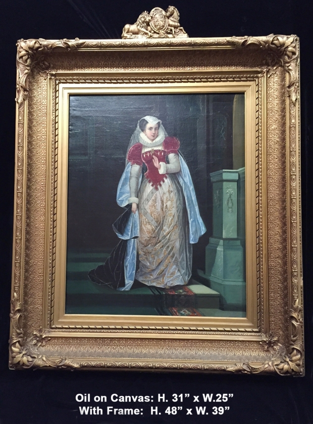 Extremely fine 19c. French School oil on canvas of standing lady next to pedestal with unusual frame with lions