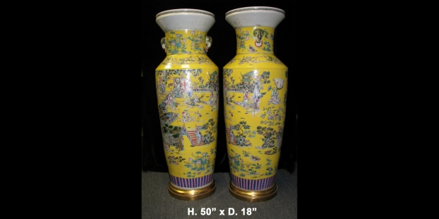 Monumental Pair Royal Chinese Qing Dynasty Style Imperial Yellow Glaze Palace Vases (1)
