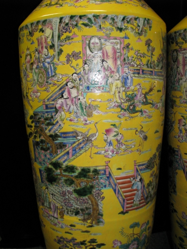 Monumental Pair Royal Chinese Qing Dynasty Style Imperial Yellow Glaze Palace Vases (2)