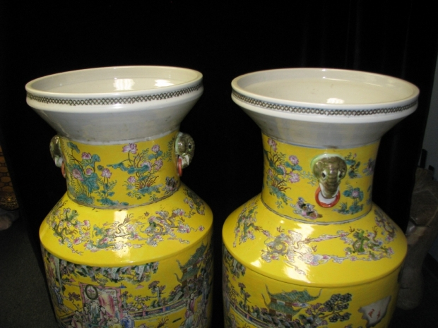 Monumental Pair Royal Chinese Qing Dynasty Style Imperial Yellow Glaze Palace Vases (3)