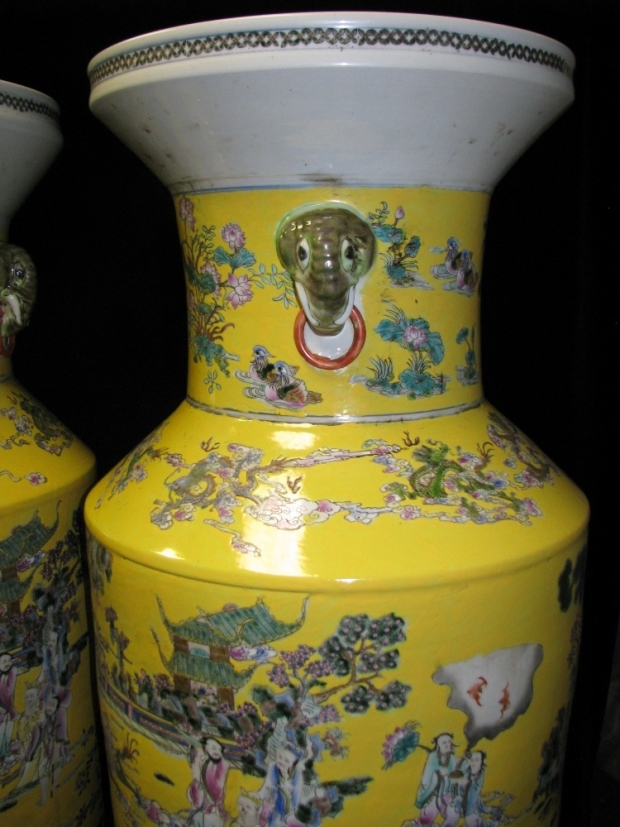 Monumental Pair Royal Chinese Qing Dynasty Style Imperial Yellow Glaze Palace Vases (4)