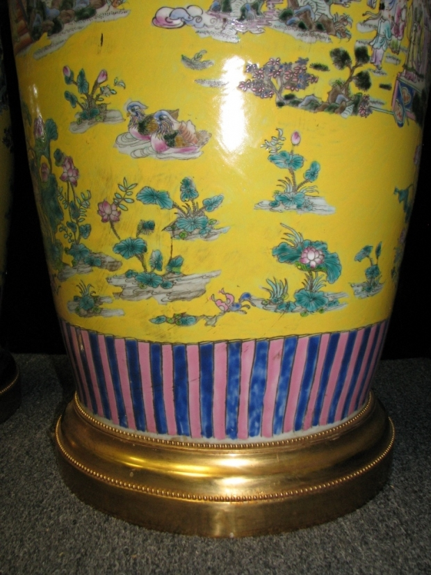 Monumental Pair Royal Chinese Qing Dynasty Style Imperial Yellow Glaze Palace Vases (6)