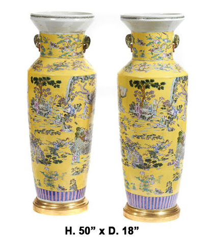 Monumental Pair Royal Chinese Qing Dynasty Style Imperial Yellow Glaze Palace Vases