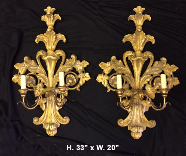 Pr. Italian Baroque Style carved giltwood sconces c.1900