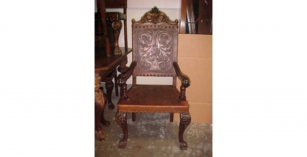 Set -12  Baroque Style Leather Dining Chairs