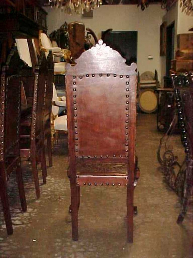 Set -12  Baroque Style Leather Dining Chairs back dtl