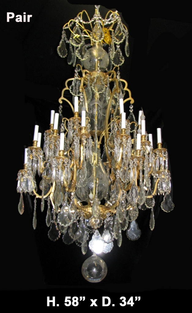 Ch 101 pair french louis xv style bronze and cut crystal 24 light impressive aloadofball Gallery