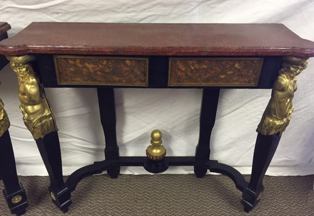 Unusual Pair 19c French bronze mounted and faux painted ebonized consoles with faux porphry tops (7)