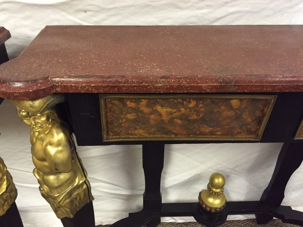 Unusual Pair 19c French bronze mounted and faux painted ebonized consoles with faux porphry tops (8)