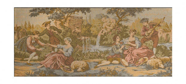 Copy of TAP-2200  Mid 20c French Machine made tapestry of romantic garden scene