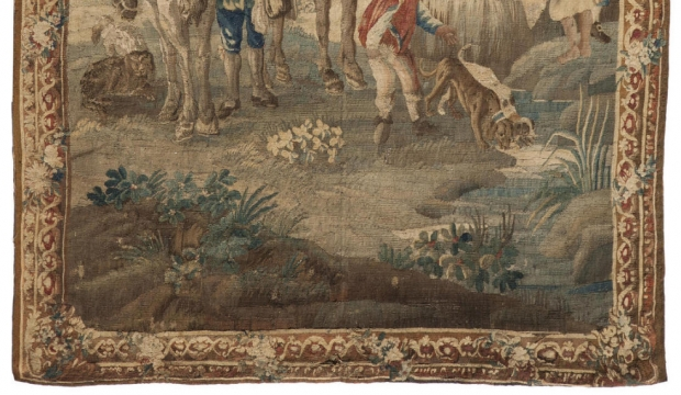 Fine 19c French handmade tapestry depicting a maiden seated on horse in a garden (1)