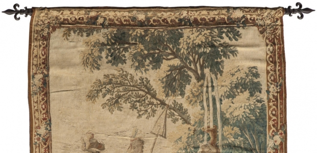 Fine 19c French handmade tapestry depicting a maiden seated on horse in a garden (2)