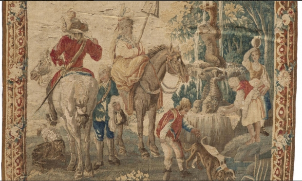 Fine 19c French handmade tapestry depicting a maiden seated on horse in a garden (3)