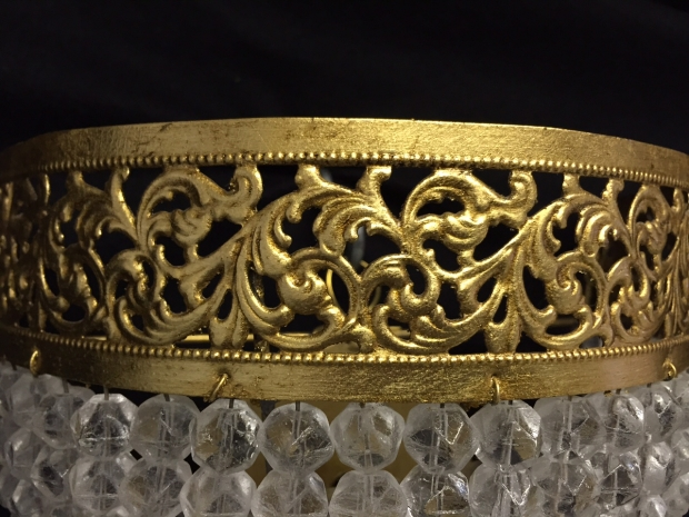 French Louis XVI Style gilt brass and faceted crystal beads wall fixtures (1)