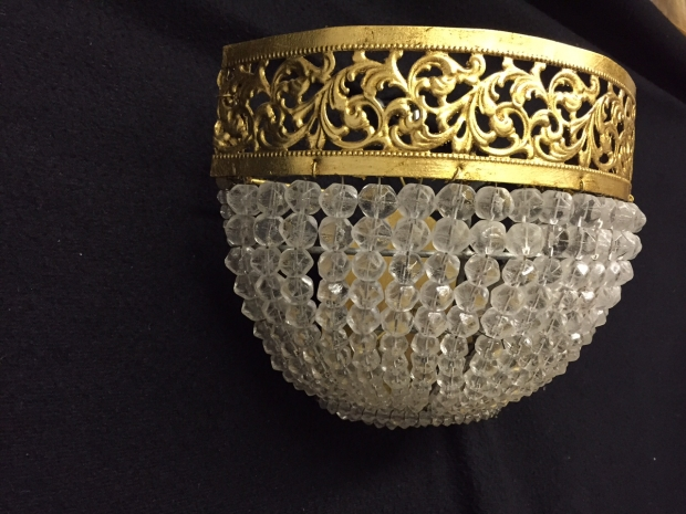 French Louis XVI Style gilt brass and faceted crystal beads wall fixtures (2)