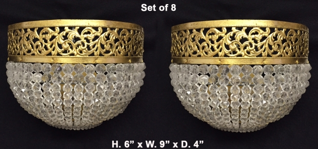 French Louis XVI Style gilt brass and faceted crystal beads wall fixtures