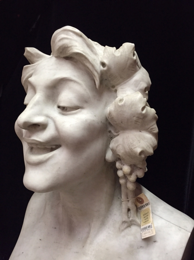 Pair Impressive Signed Italian Marble Herms Satyr and Bacchante (12)