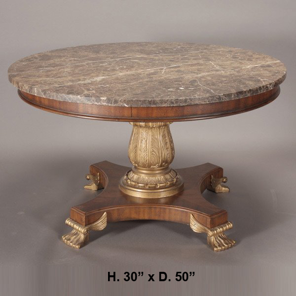 Regency style marble top round dining table the world of for Round stone top dining table