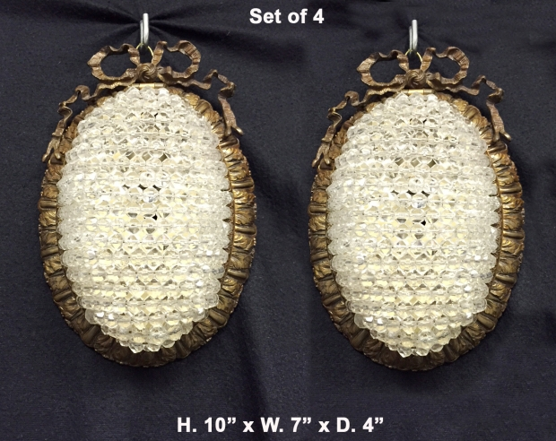Set of Four Antique French Louis XVI style gilt bronze and crystal beaded cabochon wall fixtures