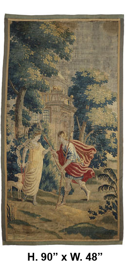 TAP-0612    18c Flemish tapestry of mythological scene of man and woman with dog near a castle
