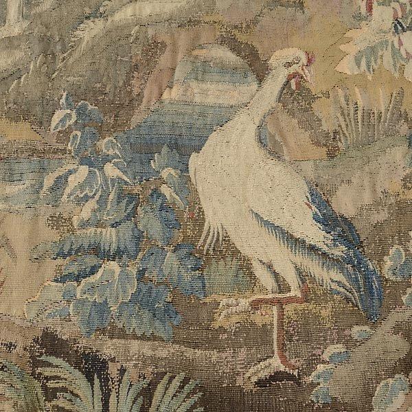 TAP-0732    19 C. Flemish Verdure Tapestry depicting castle garden with coat of arms (1)