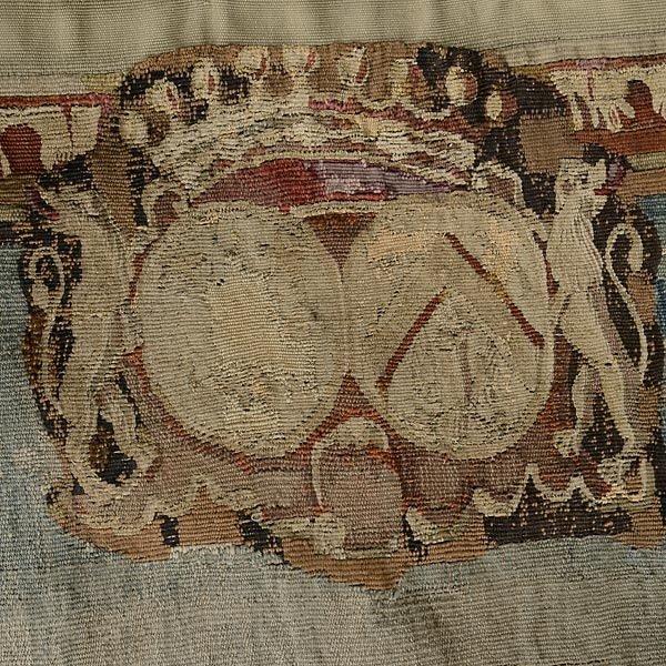 TAP-0732    19 C. Flemish Verdure Tapestry depicting castle garden with coat of arms (2)