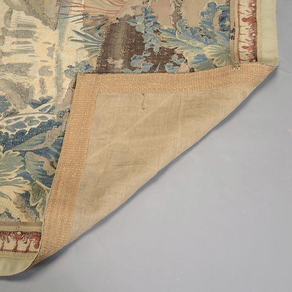 TAP-0732    19 C. Flemish Verdure Tapestry depicting castle garden with coat of arms (4)
