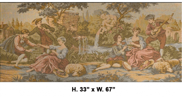 TAP-2200  Mid 20c French Machine made tapestry of romantic garden scene