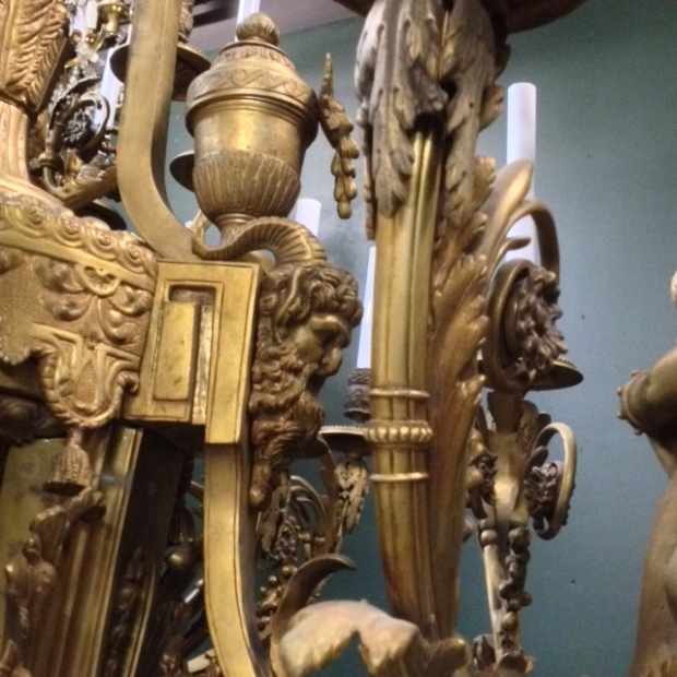 Exceptional 19c French bronze figural 39 light chandelier (13)