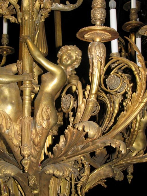 Exceptional 19c French bronze figural 39 light chandelier (2)