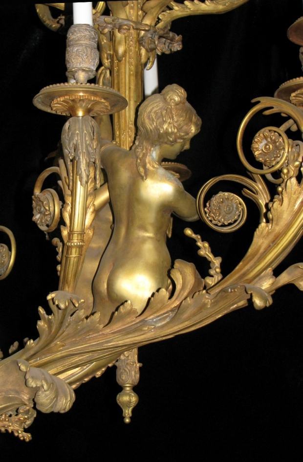 Exceptional 19c French bronze figural 39 light chandelier (3)