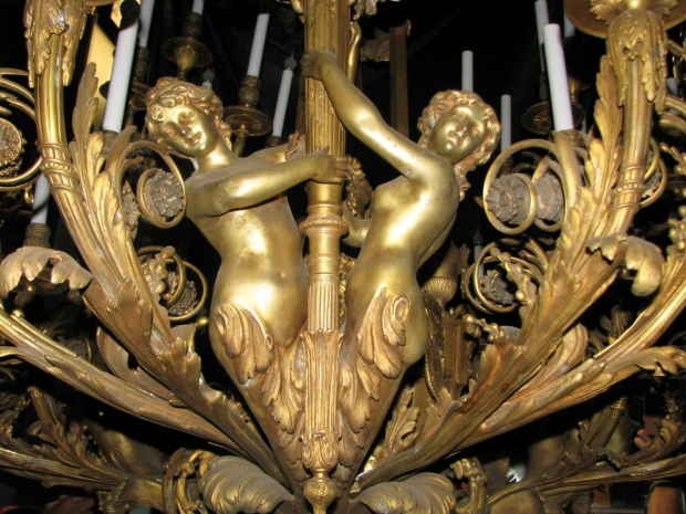 Exceptional 19c French bronze figural 39 light chandelier (5)