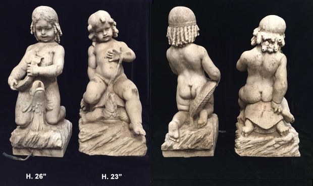 Exceptional Italian L18E19c hand carved marble seated boys fountains
